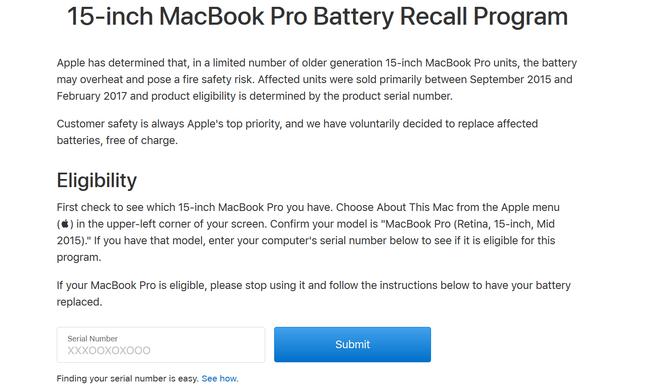 MacBook Pro bị lỗi pin